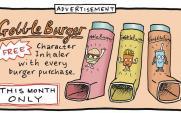 cartoon on burgers and asthma