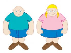 Fat boy and girl cartoon