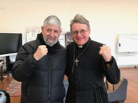 Dr Lou Lewis and Father Dave Smith