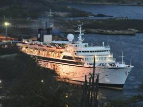 Freewinds ship docked in Curacao