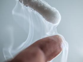 Liquid nitrogen touching finger