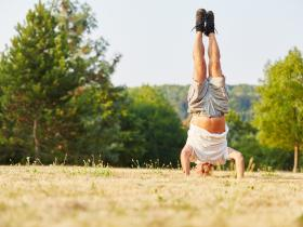 Old man hand stand