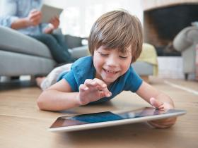 child tablet iPad screen playing