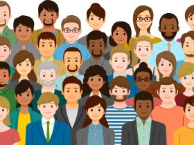Cartoon group of diverse people