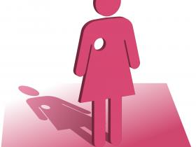 Pink silhouette of a woman with a circular hole for a breast - signifying mastectomy