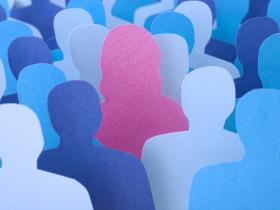 Pink sillhouette of woman stands out from crowd of blue male sillhouettes