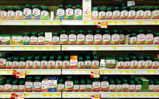 vitamins on shelves