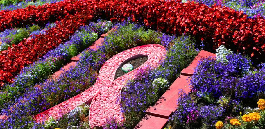 cancer ribbon garden