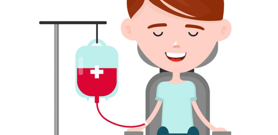 young woman donating blood