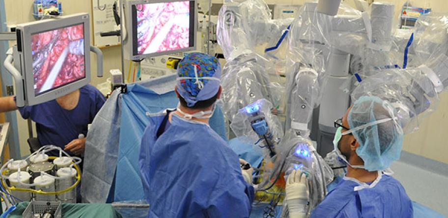 two surgeons doing robotic prostate surgery