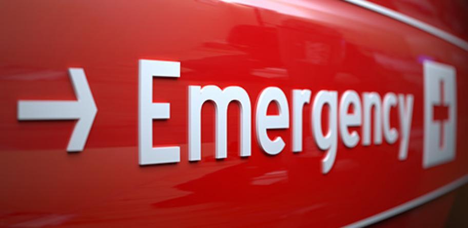 Hospital emergency dept sign